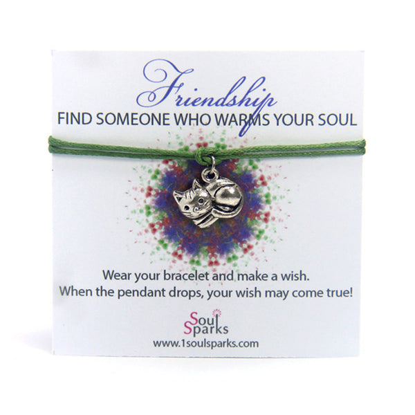 Friendship find someone who warms your soul- kitten wish bracelet