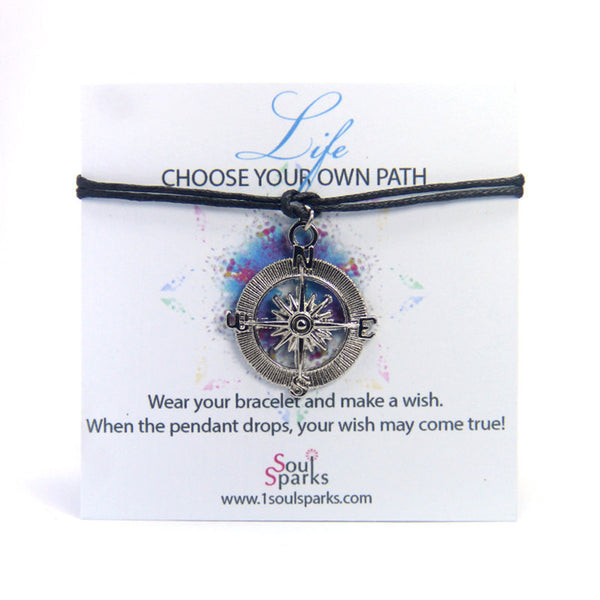 Life choose your own path travel- compass wish bracelet