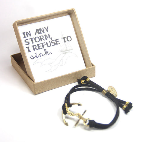 In any storm I refuse to sink- Believe in yourself Anchor Bracelet