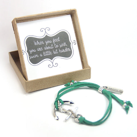 Just keep swimming- warrior anchor bracelet