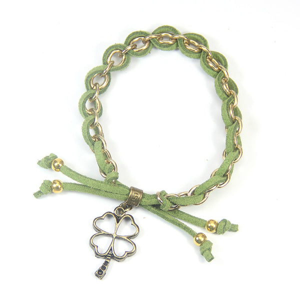 Luck have a winning attitude- four leaf clover charm bracelet