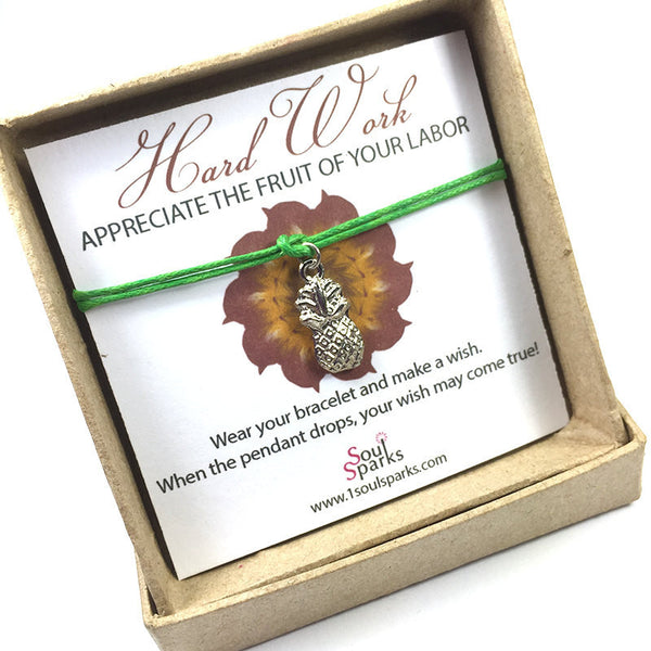 Hard work appreciate the fruit of your labor- pineapple wish bracelet