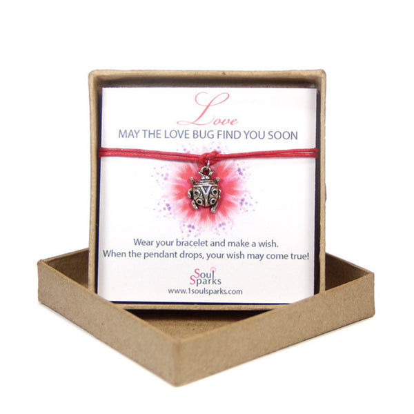 Love may the love bug find you soon- ladybug wish bracelet