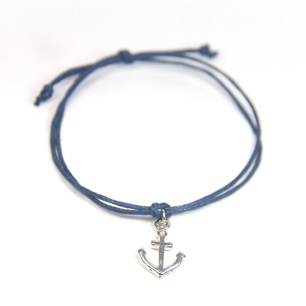 Happiness life is a beach- tiny anchor wish bracelet