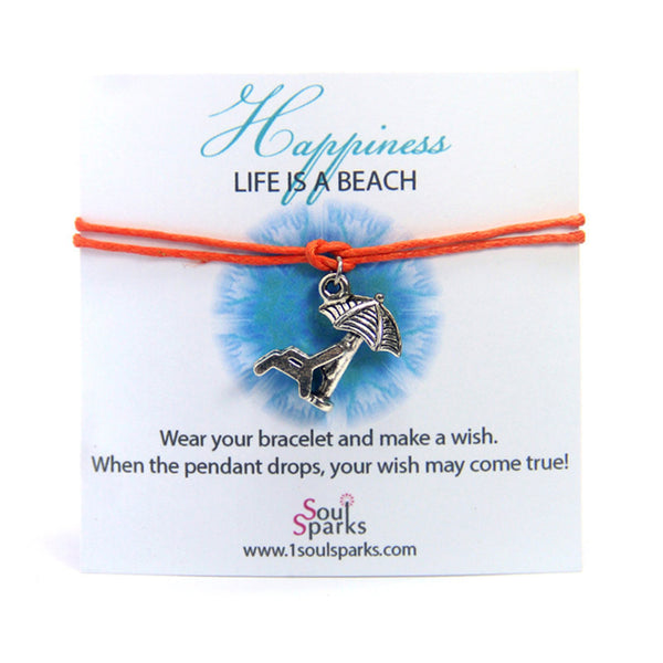 Happiness life is a beach- sunbathing chair wish bracelet
