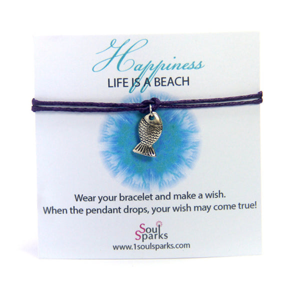 Happiness life is a beach- fish wish bracelet