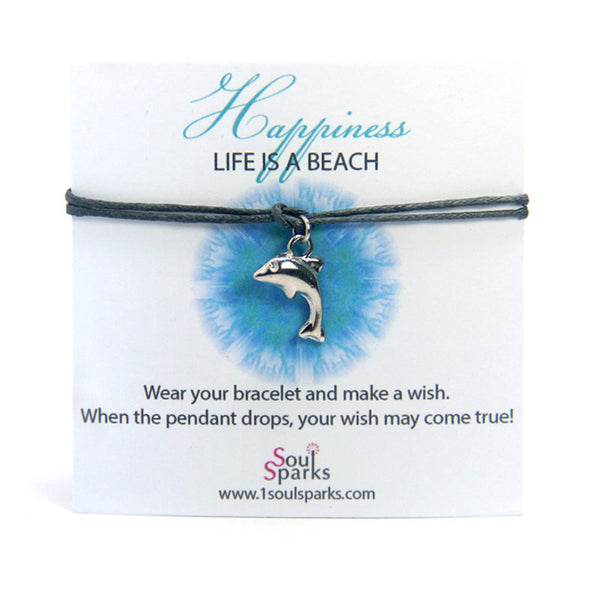Happiness life is a beach- dolphin wish bracelet