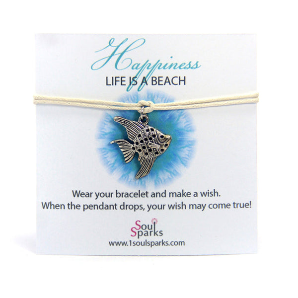 Happiness life is a beach- angel fish wish bracelet