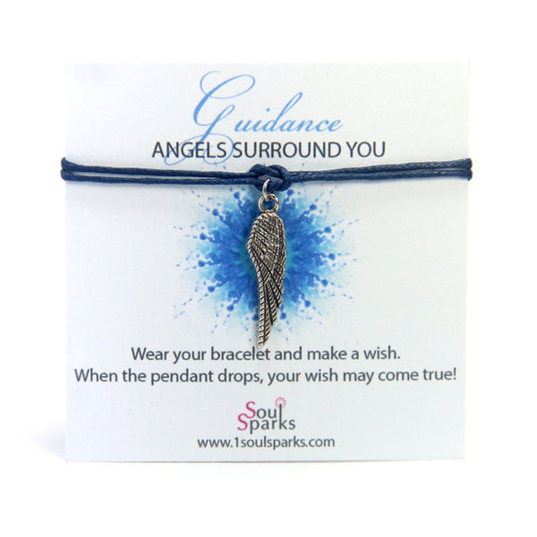 Guidance angel surrounds you- angel wing wish bracelet
