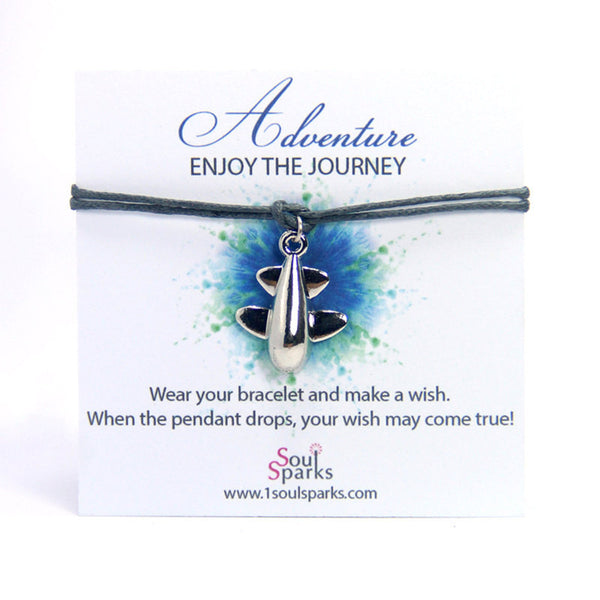 Adventure enjoy the journey- toy airplane wish bracelet