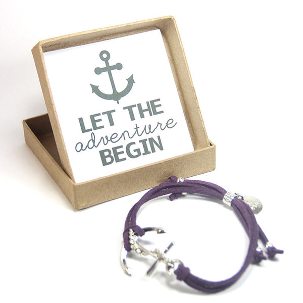 Let the adventure begin- be happy anchor bracelet