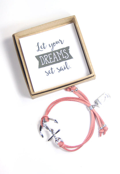Let your dreams set sail- follow your heart anchor bracelet