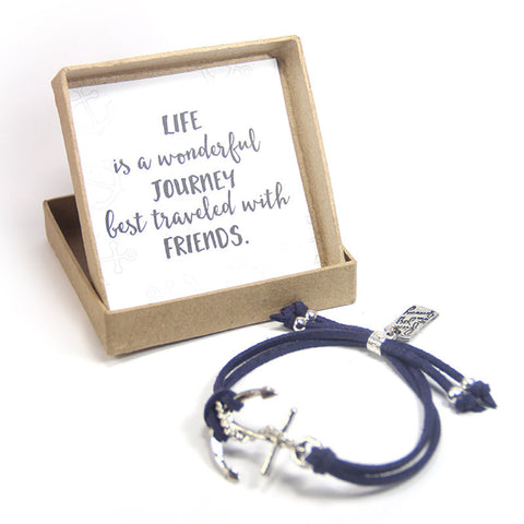 Life is a wonderful journey best traveled with friends- Find joy in the journey anchor bracelet