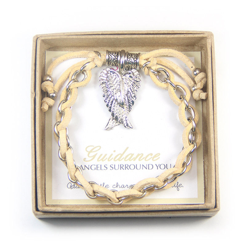 Guidance angel surrounds you- gold angel wings charm bracelet