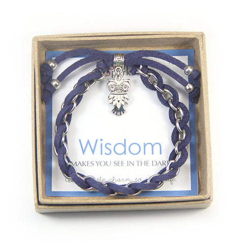 Wisdom Makes you see in the dark- owl charm bracelet