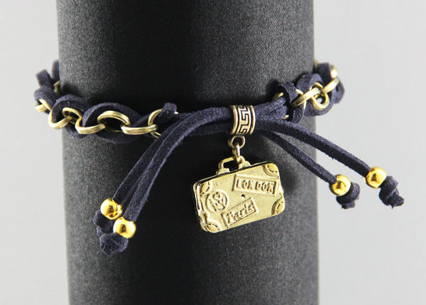 Journey in pursuit of happiness- travel luggage charm bracelet