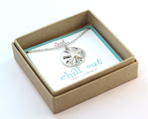 Chill out life's a beach sand dollar charm necklace in a gift box