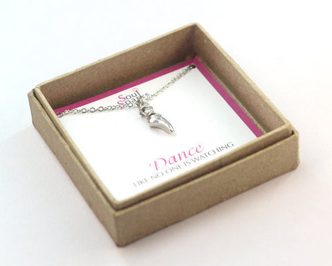 Dance ballet shoes charm necklace in a gift box
