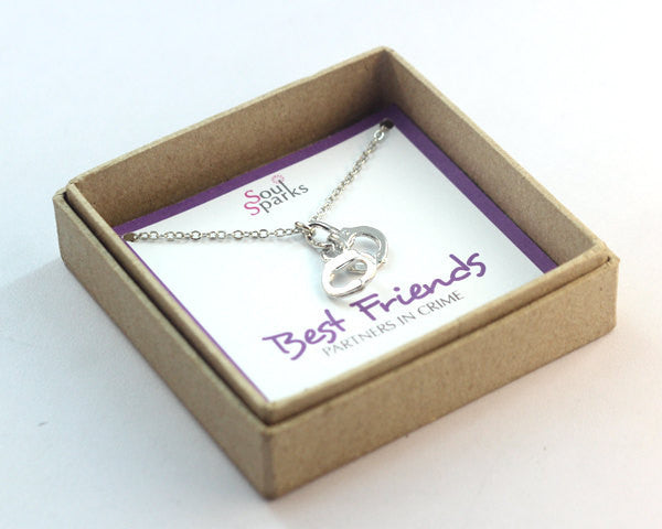Best Friends Partners in Crime Handcuff Charm Necklace