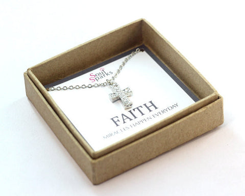 Faith Cross Charm Necklace in a Gift Box