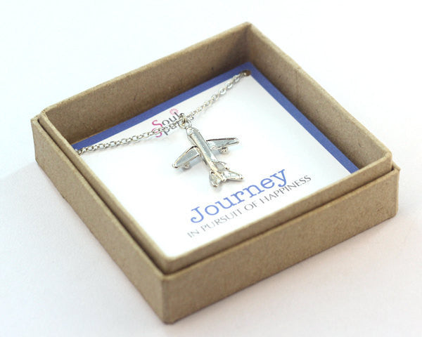 Journey in Pursuit of Happiness- Airplane Charm Necklace