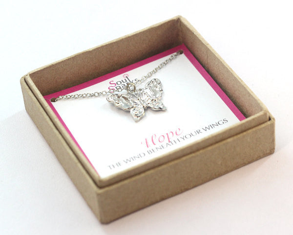 Hope butterfly charm silver necklace in a gift box