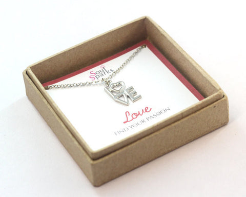 love charm necklace in a gift box