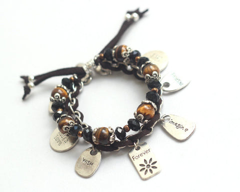 Tiger's eye inspirational charm bracelet