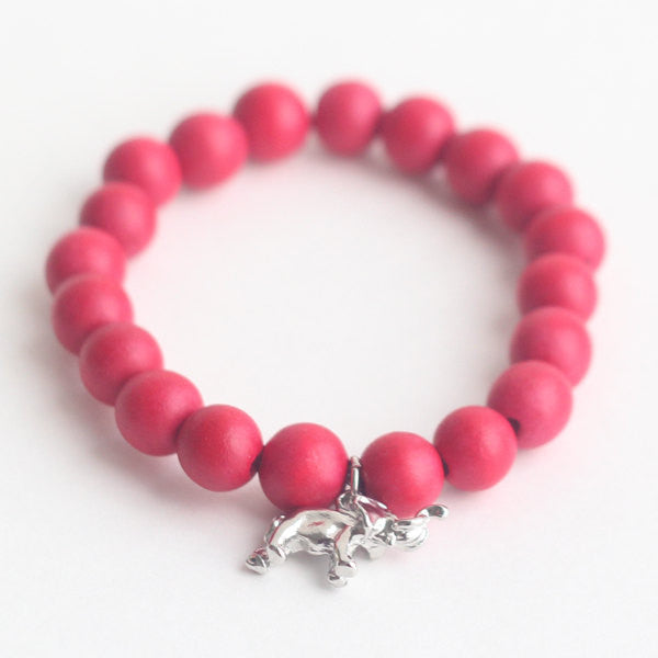Elephant wooden bead bracelet in red