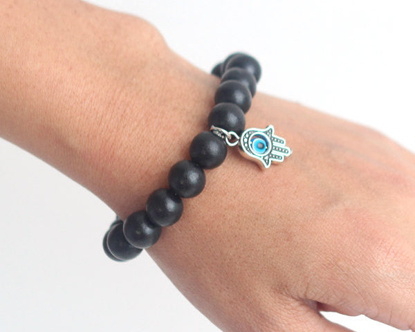 Hamsa wooden bead bracelet in black