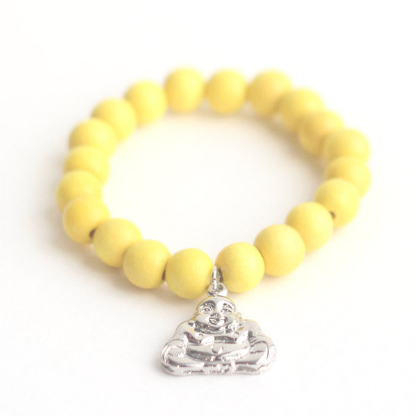 Buddha wooden bead bracelet in in yellow
