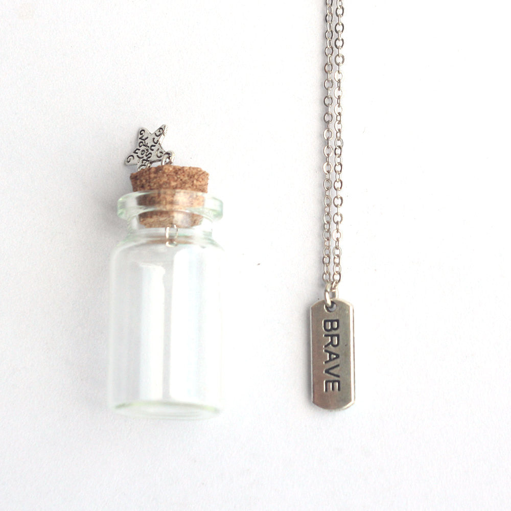 Brave mantra charm silver necklace in a tiny bottle