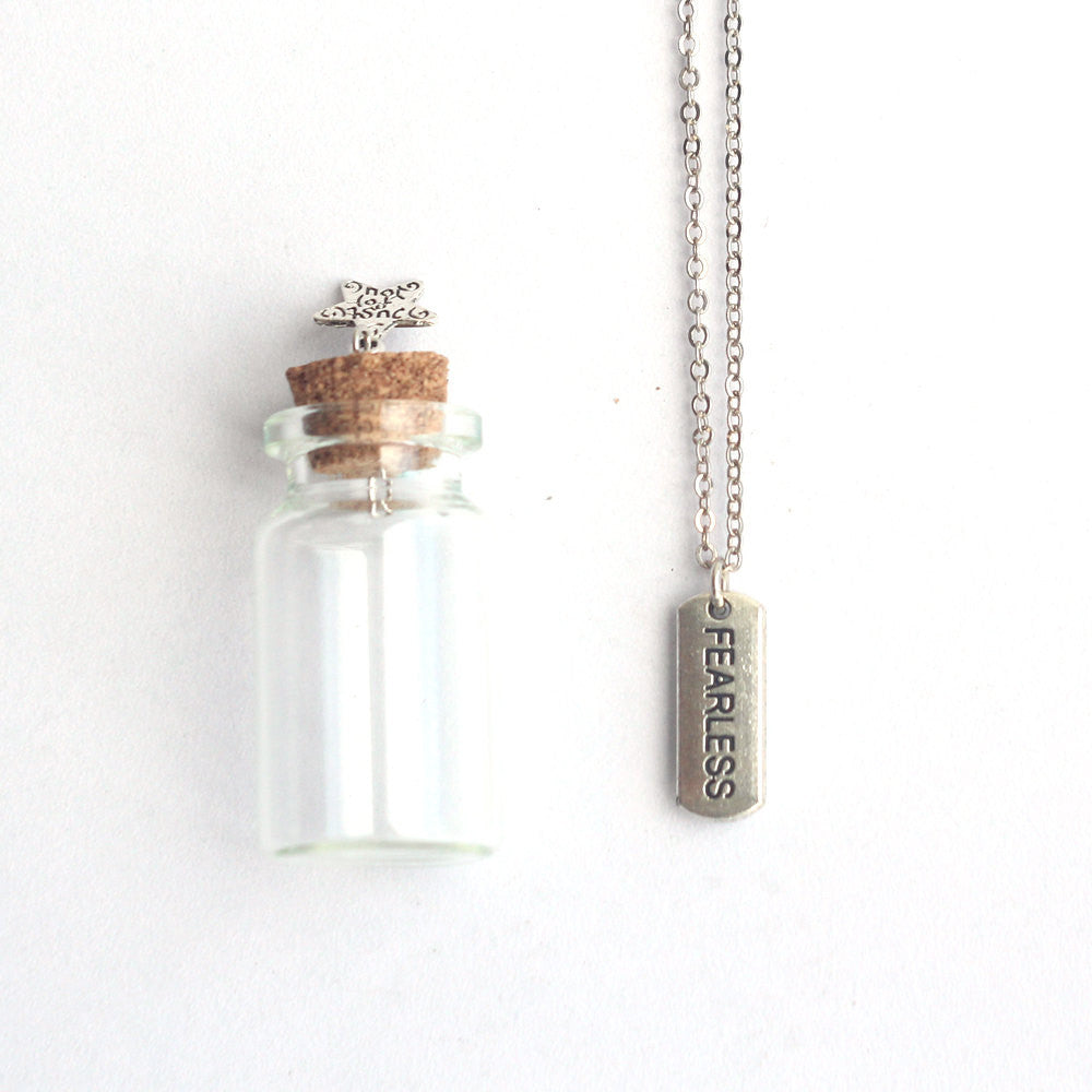 Fearless mantra charm silver necklace in a tiny bottle