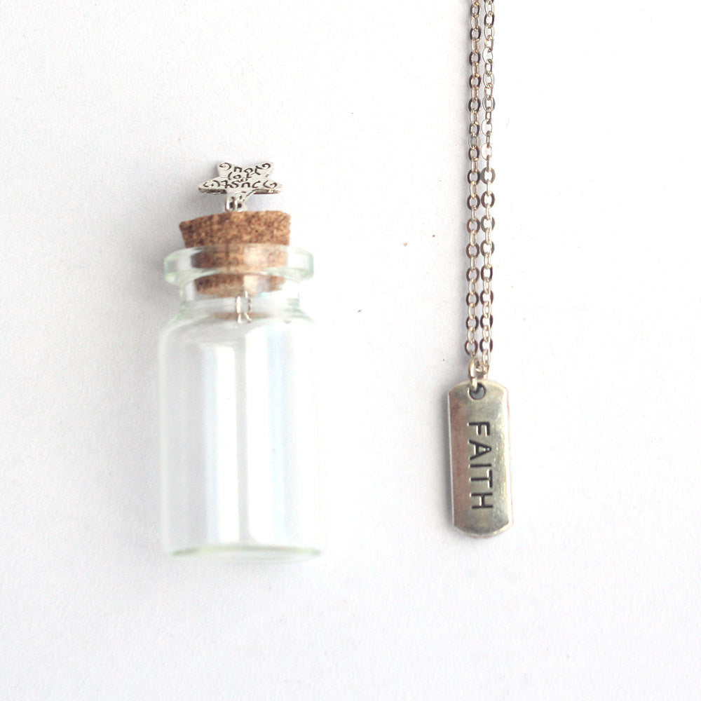 Faith mantra charm silver necklace in a tiny bottle