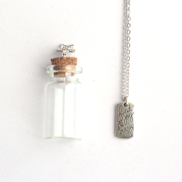 Find joy in the journey mantra charm, silver Necklace in a tiny bottle