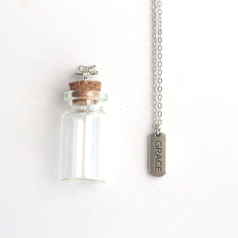 Grace mantra charm silver necklace in a tiny bottle