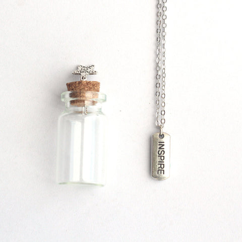 Inspire mantra charm silver necklace with a tiny glass bottle