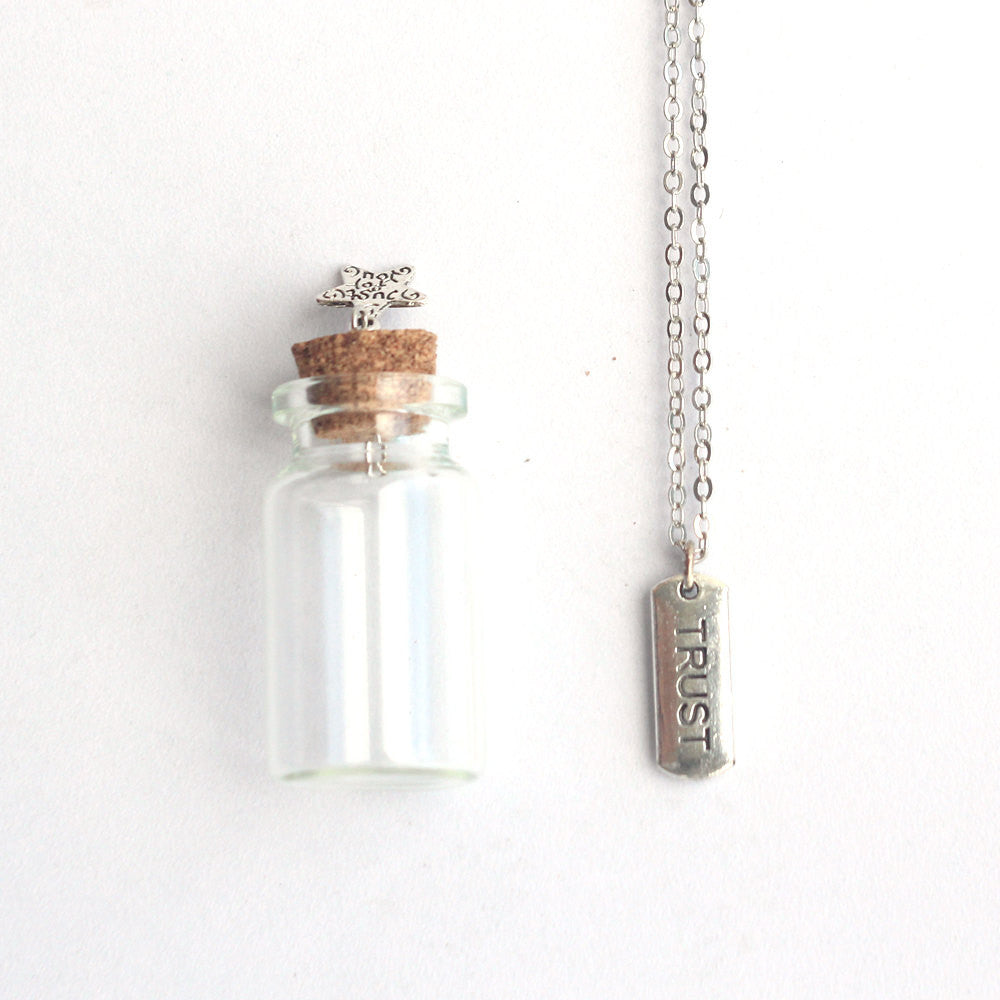 Trust mantra charm silver necklace in a tiny bottle