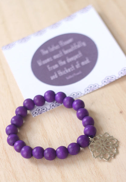 Lotus flower wooden bead bracelet in purple