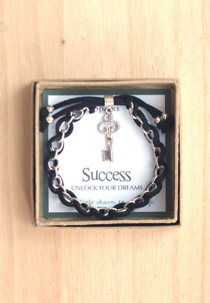 Success unlock you dreams- key charm bracelet