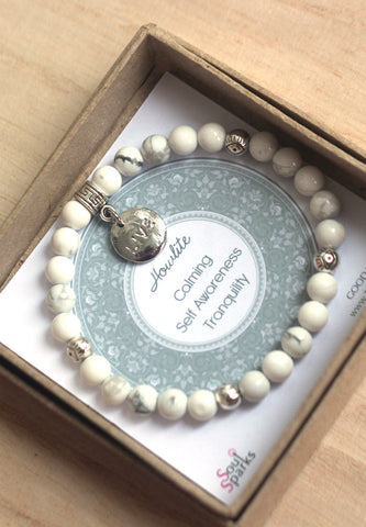 Howlite, silver evil eye beads and live charm bracelet