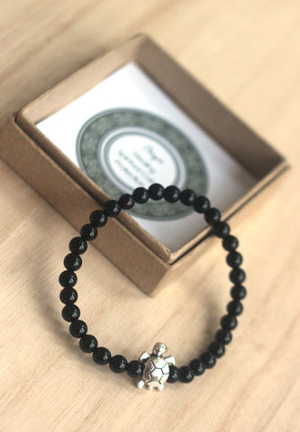 Onyx turtle bracelet for men
