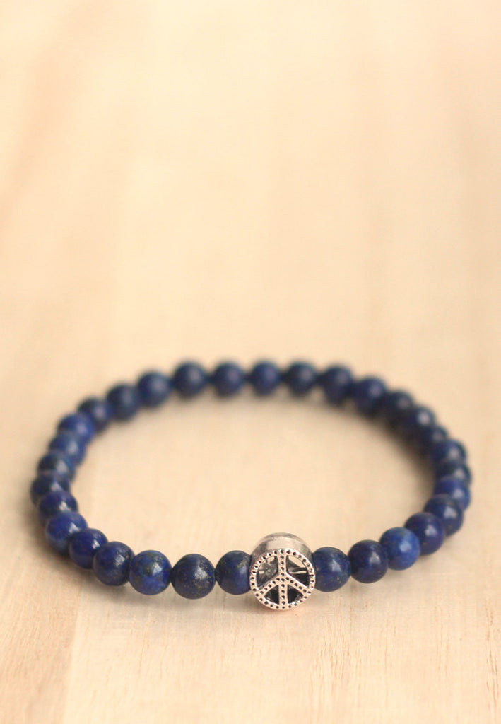 Lapis lazuli peace bracelet for men
