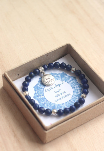 Lapis lazuli, silver evil eye beads, be happy charm bracelet