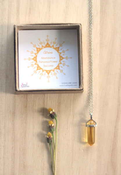 Citrine Crystal Point Necklace