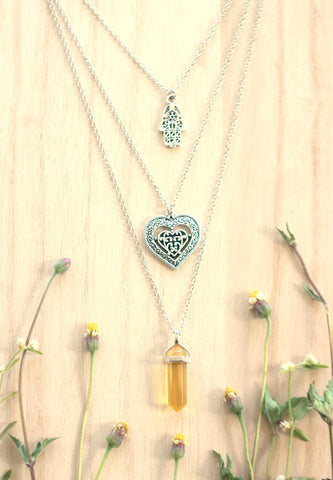 Citrine Crystal Point, Hamsa, Heart Silver Layered Necklace