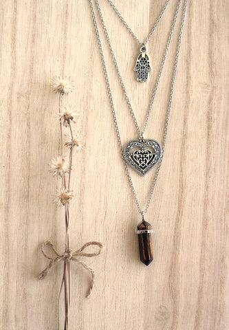 Tiger's Eye Crystal Point, Hamsa, Heart Silver Layered Necklace