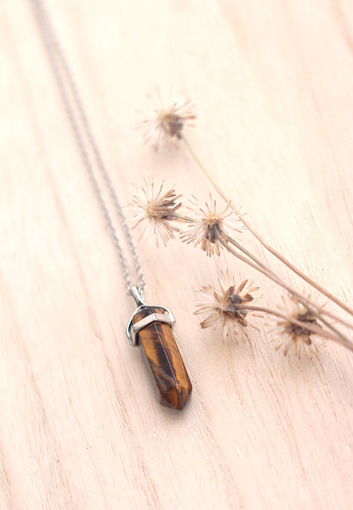 Tiger's Eye Crystal Point Necklace