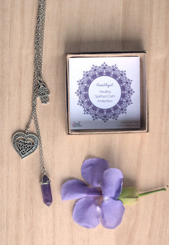 Amethyst Crystal Point, Hamsa, Heart Silver Layered Necklace