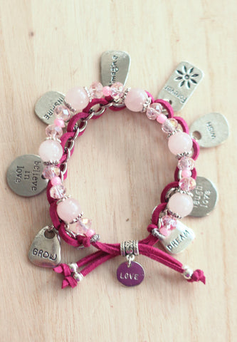 Rose quartz inspirational charm bracelet
